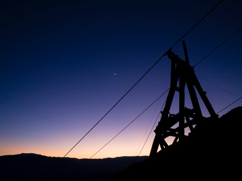Old mine shaft at dusk, Death Valley, USA