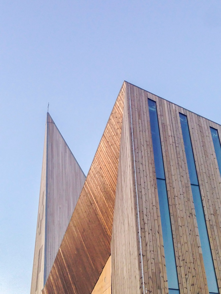 Detail of wood cladding and windows at dusk.