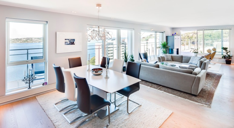 Contemporary furnishings in this luxury flat over looking the Fjords in Bergen.