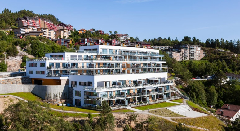 Overview of this scandinavian residential project in Bergen.