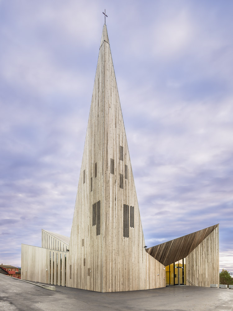 Front elevation of Knarvik Church / Knarvik Kirke, Norway designed by Reiulf Ramstad Arkitekter.