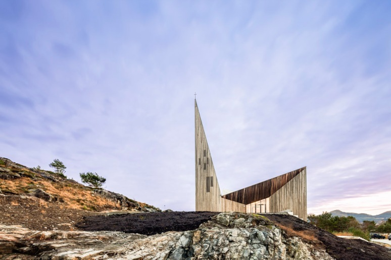 Main facade of Knarvik Church / Knarvik Kirke, Norway designed by Reiulf Ramstad Arkitekter.