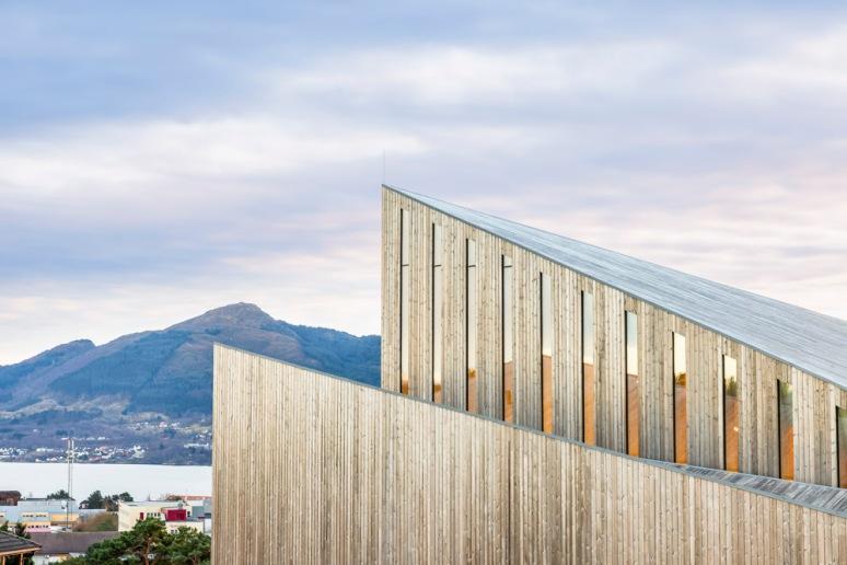 Window and cladding detail of Knarvik Church / Knarvik Kirke, Norway designed by Reiulf Ramstad Arkitekter.