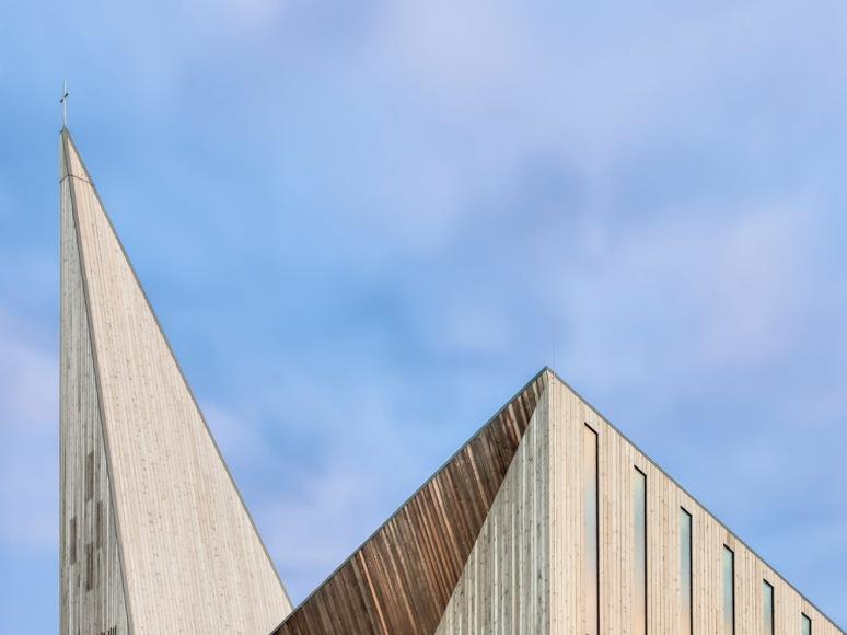 Abstaract detail of the spire at Knarvik Church / Knarvik Kirke, Norway designed by Reiulf Ramstad Arkitekter.