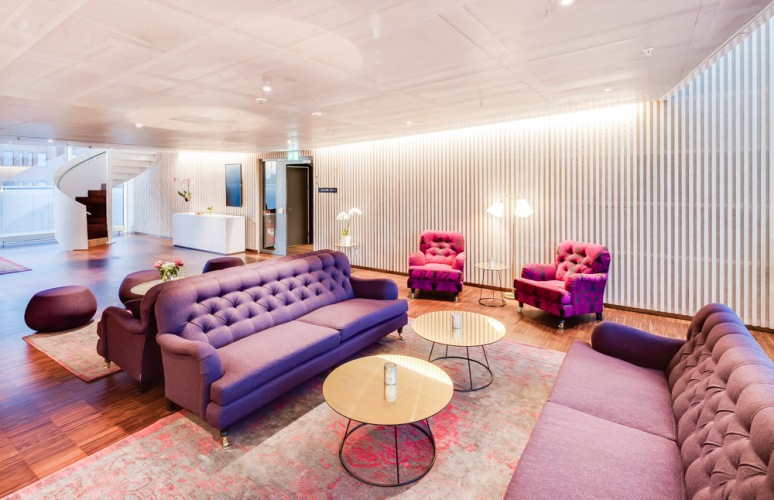 Lounge area at Hotel Von Kraemer, Uppsala, Sweden designed by Link Arkitektur.