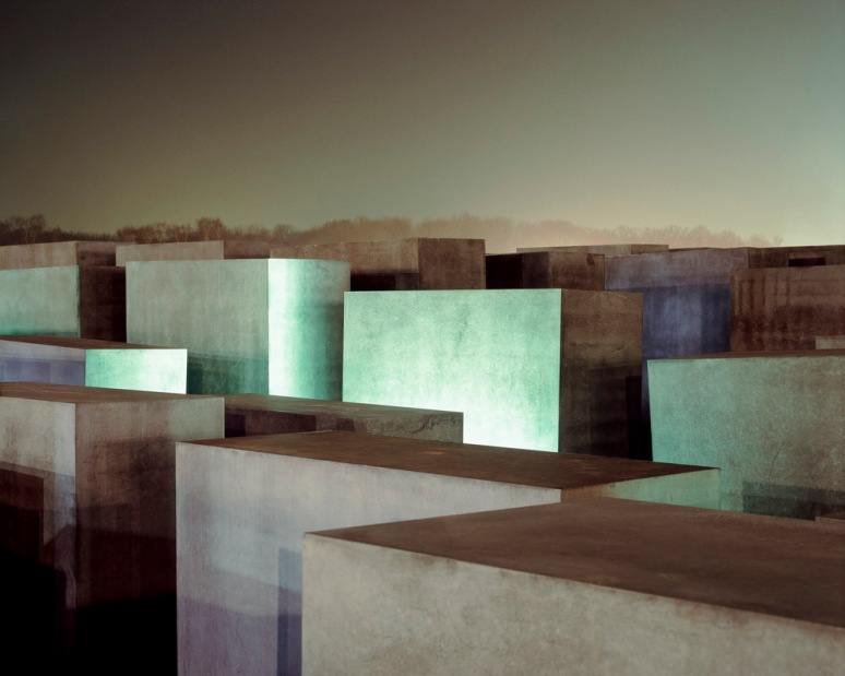 Jewish Holocaust Memorial Blocks viewed at night, Berlin, Germany, designed by Peter Eisenman Architects.