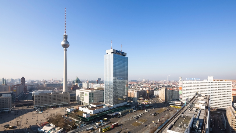 City skyline of Berlin looking towards the TV Tower and Alexanderplatz, Germany.