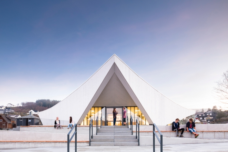 Entrance to Aalgaard Church designed by Link Arkitektur, Stavanger, Norway.
