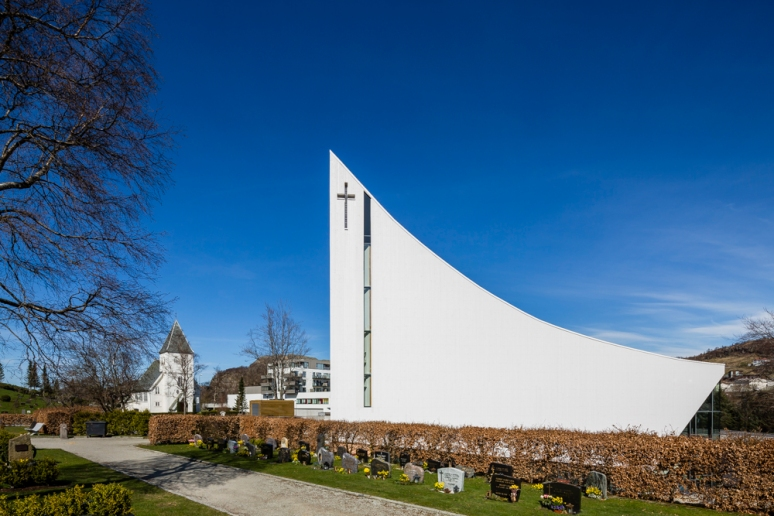 Rear facade of Aalgaard Church designed by Link Arkitektur, Stavanger, Norway.