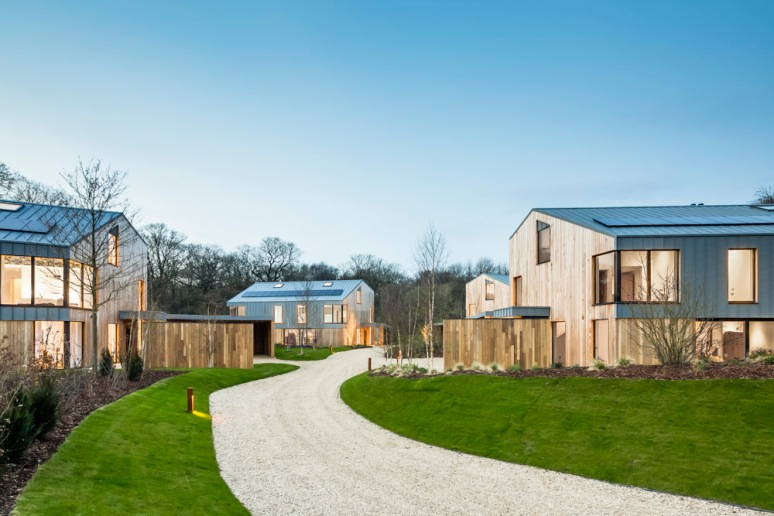 Overview of The Woods residential property site designed by Scott Brownrigg, Bedfordshire, UK.