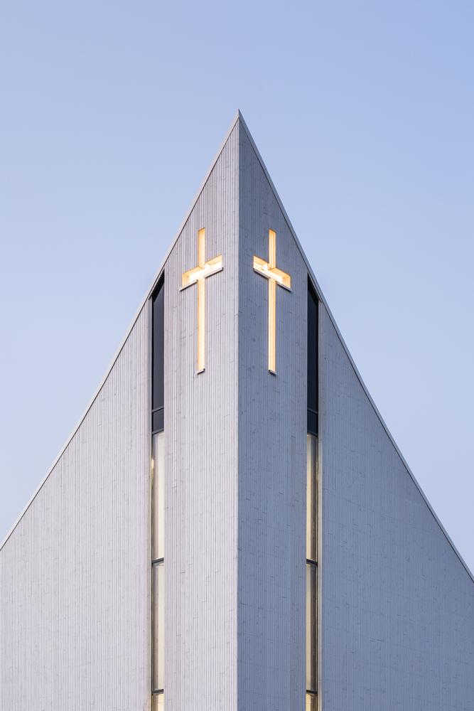 Roof detail on Aalgaard Church designed by Link Arkitektur, Stavanger, Norway.