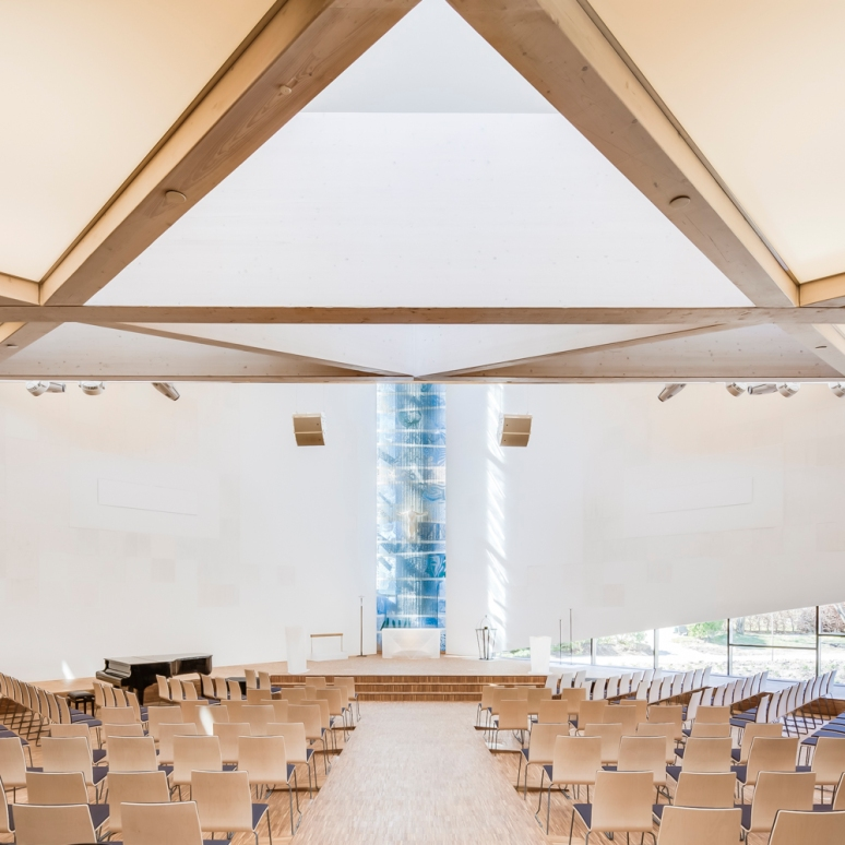 Interior atrium at Aalgaard Church designed by Link Arkitektur, Stavanger, Norway.