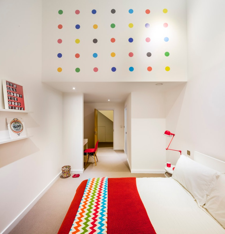 Children's bedroom at The Woods residential property designed by Scott Brownrigg, Bedfordshire, UK.
