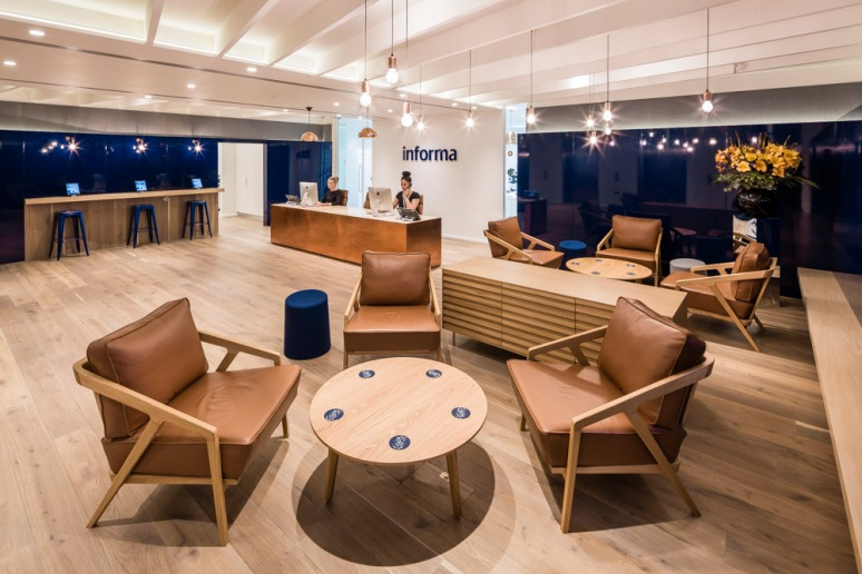 Reception area at the Informa office designed by Ben Adams Architects.