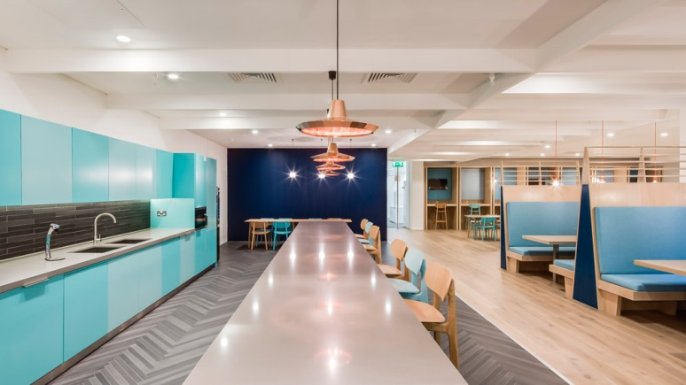 Kitchen at Informa office designed by Ben Adams Architects.