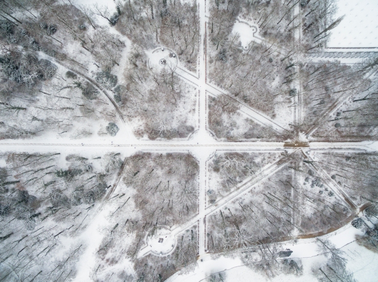 Sanssouci park viewed from the air in winter, Potsdam, Berlin, Germany.