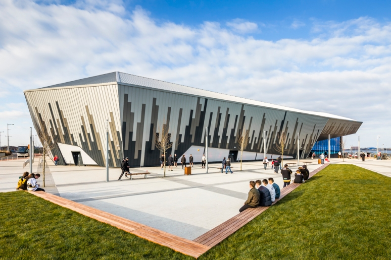 Exterior view of the Ice Arena Wales, designed by Scott Brownrigg, Cardiff, Wales, UK.