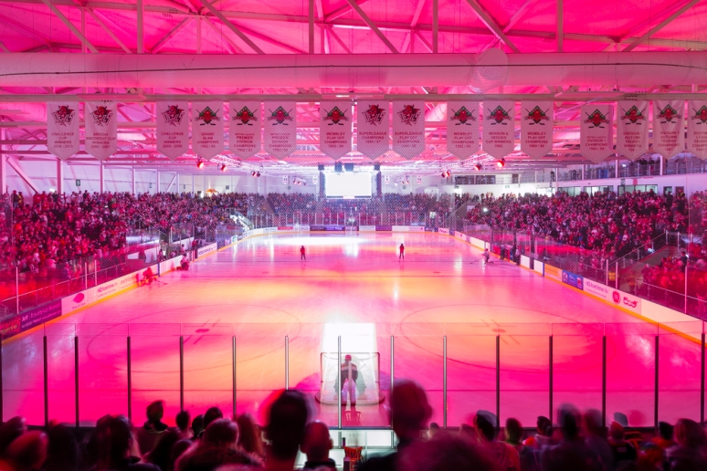 Opening light show at the Ice Arena Wales, designed by Scott Brownrigg, Cardiff, Wales, UK.