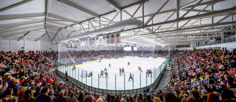 Overview of main ice rink at the Ice Arena Wales, designed by Scott Brownrigg, Cardiff, Wales, UK.
