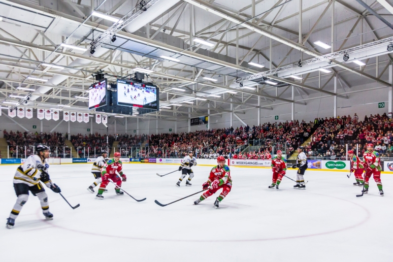 The Red Devils against the Panthers at the Ice Arena Wales, designed by Scott Brownrigg, Cardiff, Wales, UK.