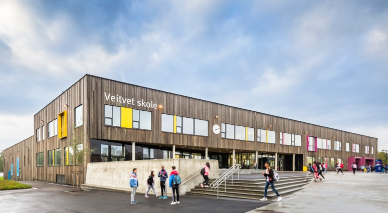Entrance to Veitvet Skole designed by Link Arkitektur, Oslo, Norway.