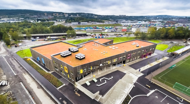 Aerial view of Veitvet Skole designed by Link Arkitektur, Oslo, Norway.