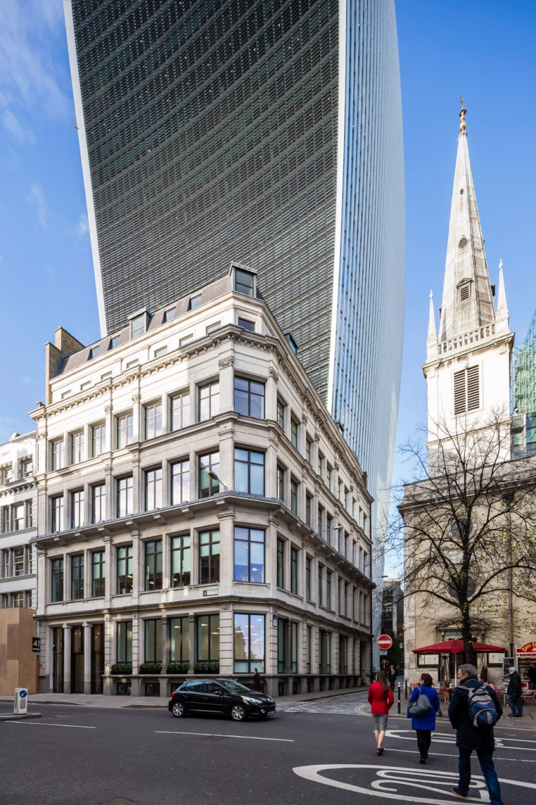 41 Eastcheap Street office designed by Ben Adams Architects next to the 'Walkietalkie', London, UK.
